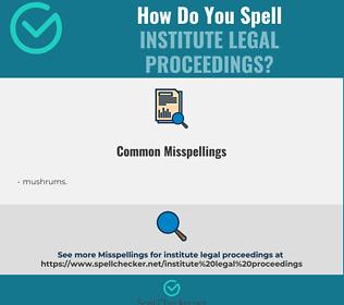 Correct spelling for institute legal proceedings