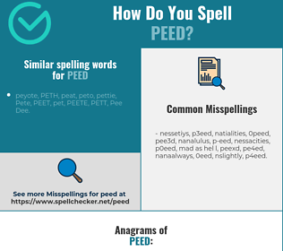 Correct spelling for peed