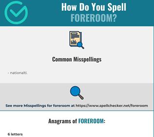 Correct spelling for foreroom