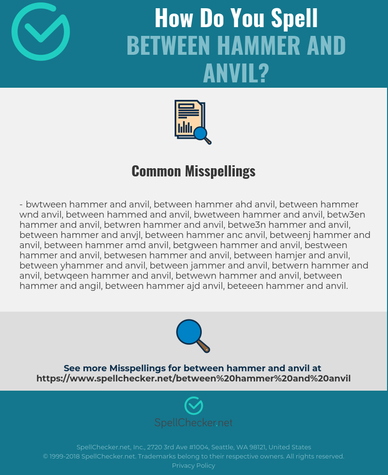 Correct spelling for between hammer and anvil [Infographic
