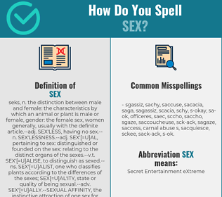Correct spelling for sex