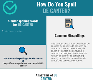 Correct spelling for de canter