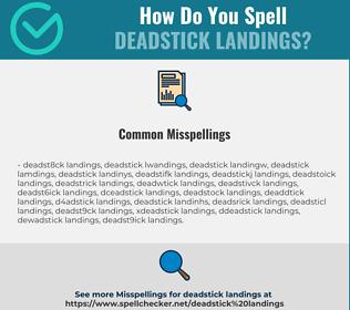Correct spelling for deadstick landings