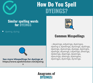 Correct spelling for dyeings