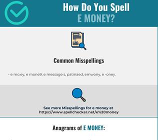 correct spelling for e money infographic spellchecker net spellchecker net