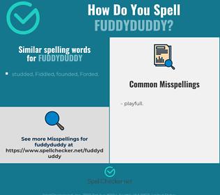Correct spelling for fuddyduddy