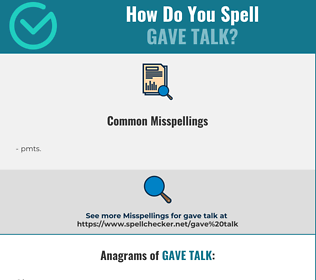 Correct spelling for gave talk