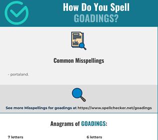 Correct spelling for goadings