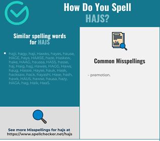 Correct spelling for hajs
