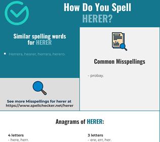 Correct spelling for herer