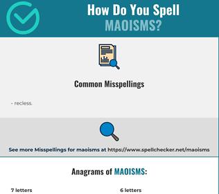 Correct spelling for maoisms
