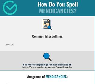 Correct spelling for mendicancies
