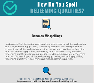 Correct spelling for redeeming qualities