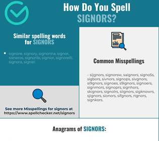 Correct spelling for signors
