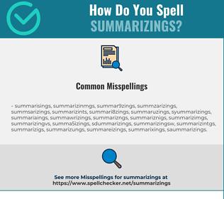 Correct spelling for summarizings