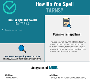 Correct spelling for tarns