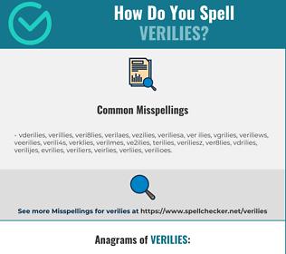 Correct spelling for verilies