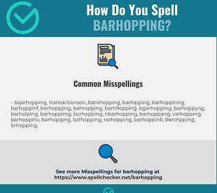 Correct spelling for barhopping