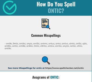 Correct spelling for ontic