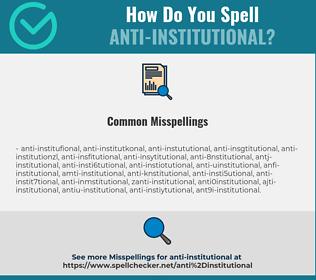 Correct spelling for anti-institutional
