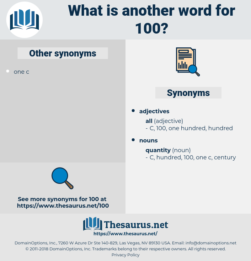 100, synonym 100, another word for 100, words like 100, thesaurus 100