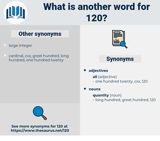120, synonym 120, another word for 120, words like 120, thesaurus 120