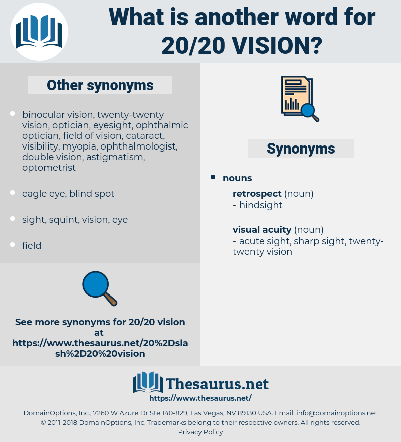 20/20 vision, synonym 20/20 vision, another word for 20/20 vision, words like 20/20 vision, thesaurus 20/20 vision
