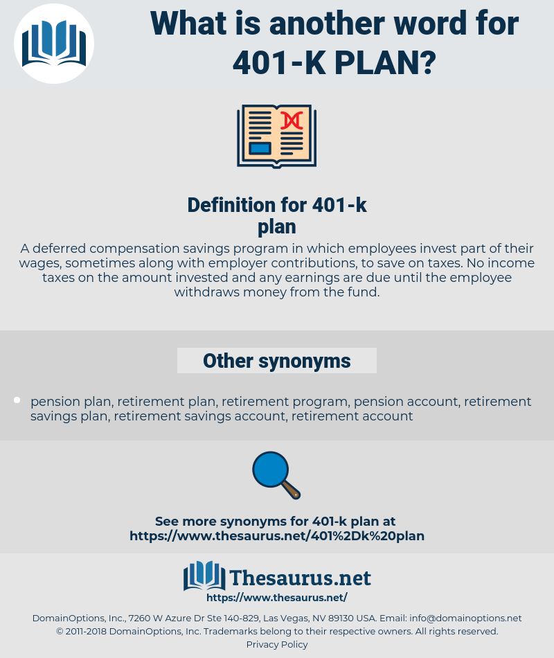 401-k plan, synonym 401-k plan, another word for 401-k plan, words like 401-k plan, thesaurus 401-k plan