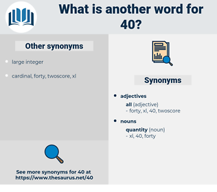 40, synonym 40, another word for 40, words like 40, thesaurus 40