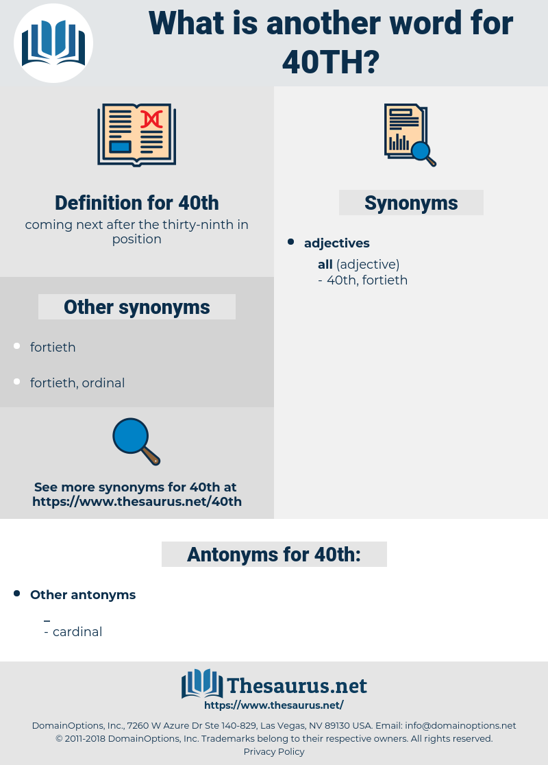 40th, synonym 40th, another word for 40th, words like 40th, thesaurus 40th