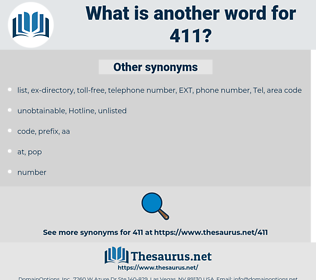 411, synonym 411, another word for 411, words like 411, thesaurus 411