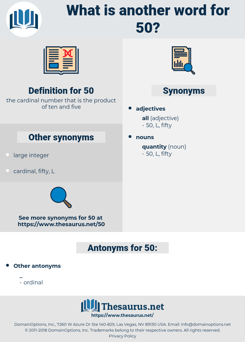 50, synonym 50, another word for 50, words like 50, thesaurus 50
