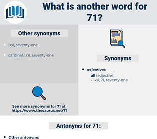 71, synonym 71, another word for 71, words like 71, thesaurus 71