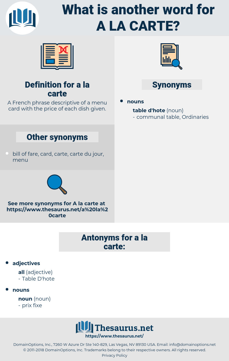 Synonyms For A La Carte Thesaurus Net