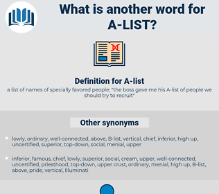 A-list, synonym A-list, another word for A-list, words like A-list, thesaurus A-list