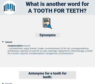 a tooth for teeth, synonym a tooth for teeth, another word for a tooth for teeth, words like a tooth for teeth, thesaurus a tooth for teeth