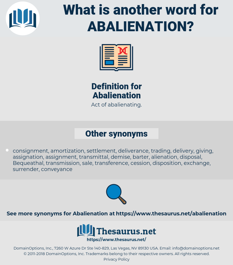 Abalienation, synonym Abalienation, another word for Abalienation, words like Abalienation, thesaurus Abalienation