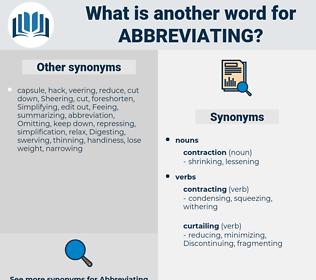 Abbreviating, synonym Abbreviating, another word for Abbreviating, words like Abbreviating, thesaurus Abbreviating