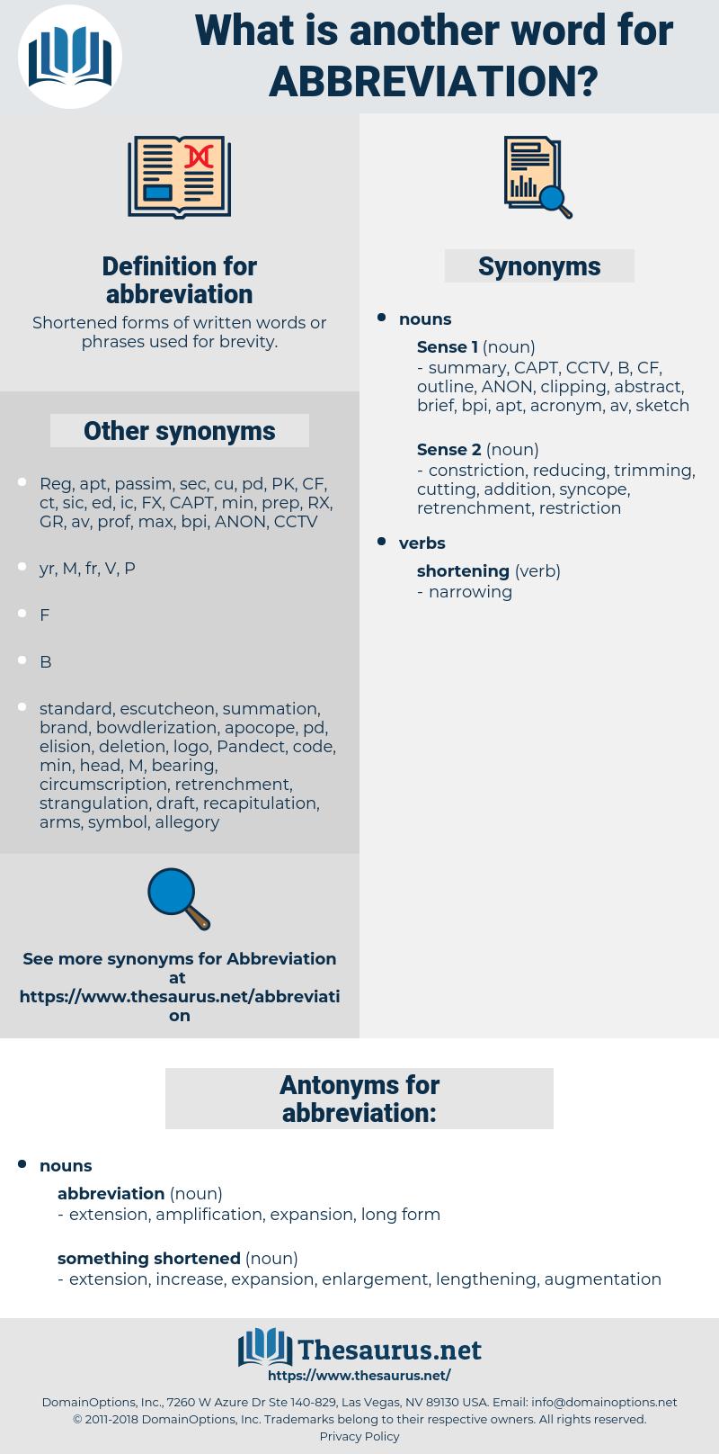 abbreviation, synonym abbreviation, another word for abbreviation, words like abbreviation, thesaurus abbreviation