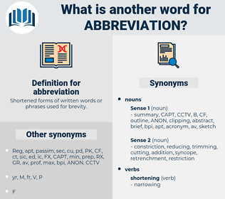 abbreviation, synonym abbreviation, another word for abbreviation, words like abbreviation, thesaurus abbreviation