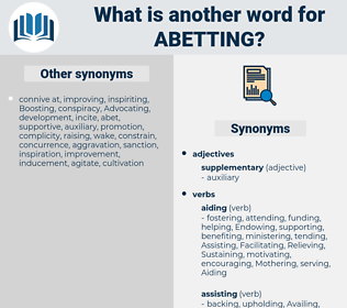 Abetting, synonym Abetting, another word for Abetting, words like Abetting, thesaurus Abetting