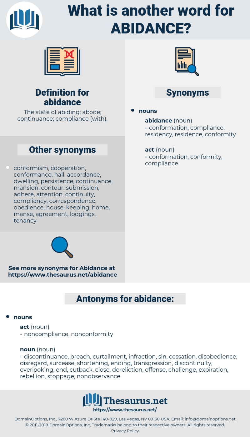 abidance, synonym abidance, another word for abidance, words like abidance, thesaurus abidance