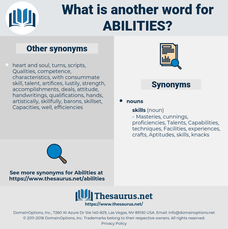 Abilities, synonym Abilities, another word for Abilities, words like Abilities, thesaurus Abilities