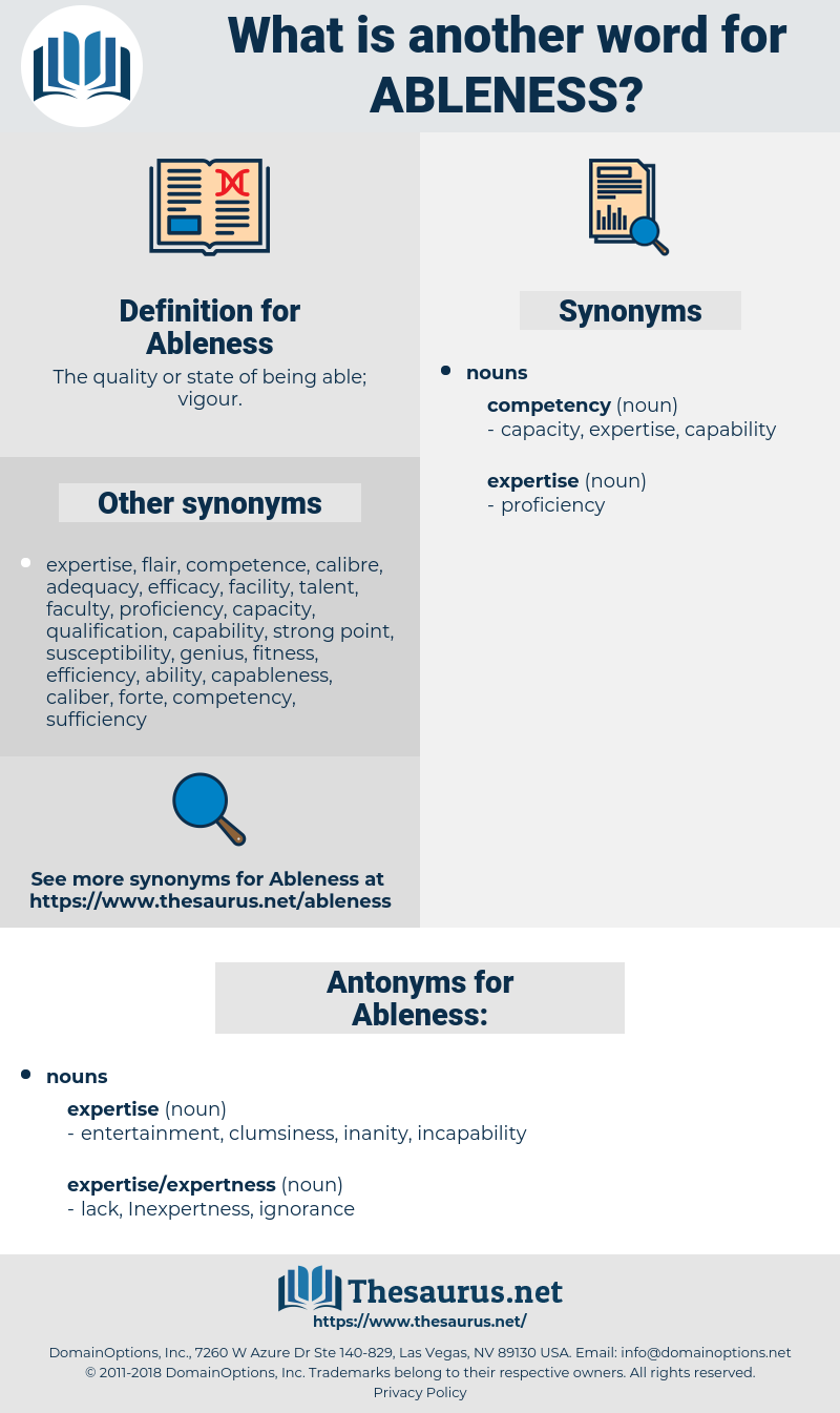 Ableness, synonym Ableness, another word for Ableness, words like Ableness, thesaurus Ableness