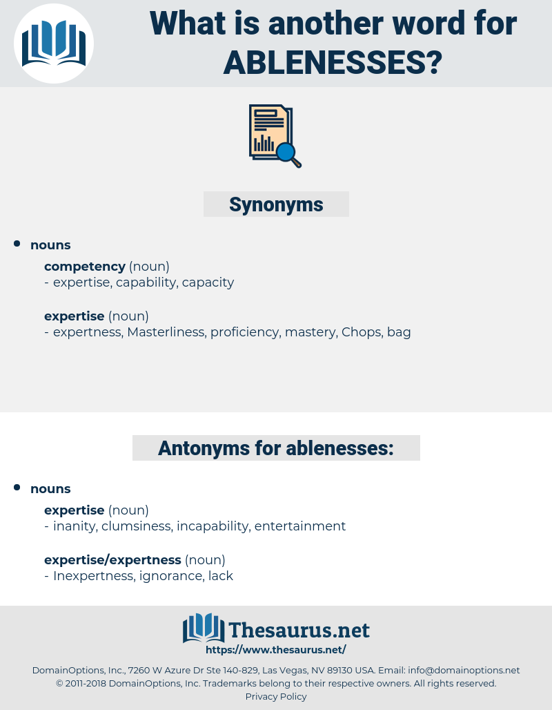 ablenesses, synonym ablenesses, another word for ablenesses, words like ablenesses, thesaurus ablenesses