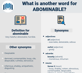 abominable, synonym abominable, another word for abominable, words like abominable, thesaurus abominable