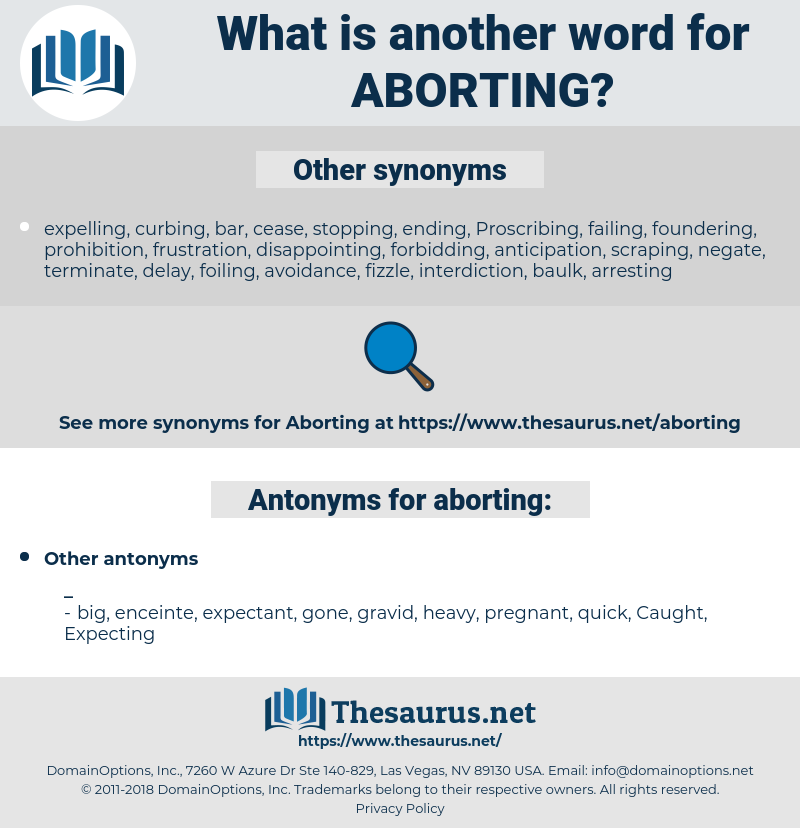 aborting, synonym aborting, another word for aborting, words like aborting, thesaurus aborting