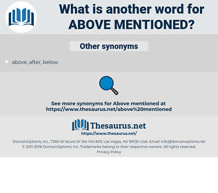 above-mentioned, synonym above-mentioned, another word for above-mentioned, words like above-mentioned, thesaurus above-mentioned