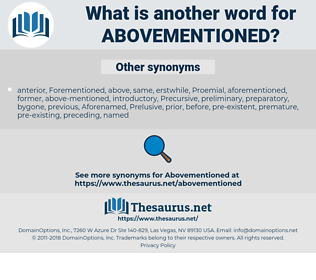 abovementioned, synonym abovementioned, another word for abovementioned, words like abovementioned, thesaurus abovementioned