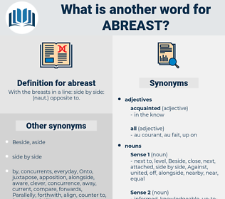 abreast, synonym abreast, another word for abreast, words like abreast, thesaurus abreast
